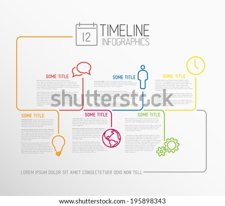 Vector Infographic timeline report template with lines and icons