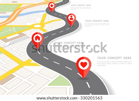 Superior Vector Infographic With A Tortuous Road Separating Blank Space From A  Perspective City Map With Red Pertaining To Blank Road Map