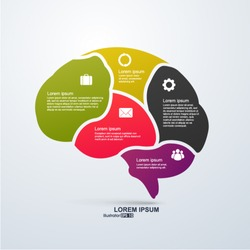 Vector infographics. Brain,  Abstract background.
