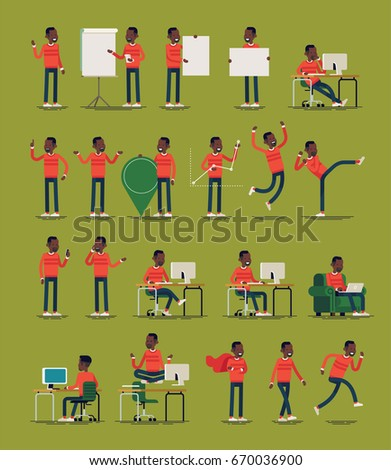 Vector infographics casually clothed spokesman character poses and gestures bundle. Random african guy in red sweater in diverse settings. Ideal for motion, graphic and web design projects