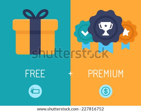 Vector infographics depicting freemium business model - free of charge and free to play apps and games - paying for premium features and services - conceptual illustration in flat style Stock photo ©