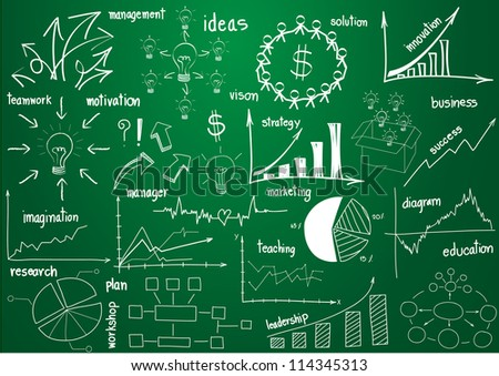 Vector infographics elements graphics and diagrams, drawing on green board
