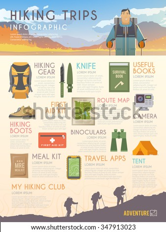 Vector infographics on the theme of Climbing, Trekking, Hiking, Walking. Sports, outdoor recreation, adventures in nature, vacation. Modern flat design.