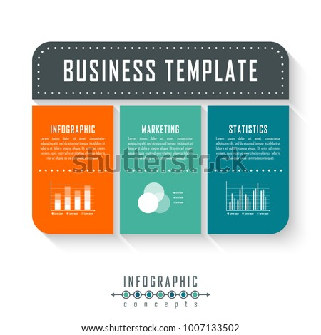 Vector infographics template for chart, diagram, web design, presentation, workflow layout. Business concept with 3 options, parts, steps or processes