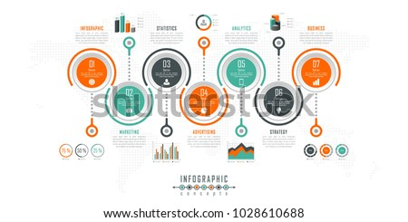 Vector infographics template for chart, diagram, web design, presentation, workflow layout. Business concept with 7 options, parts, steps or processes
