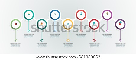 Vector infographics timeline design template with 3D paper label, integrated circles background. Blank space for content, business, infographic, diagram, flowchart, diagram, timeline or steps process