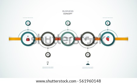 Vector infographics timeline design template with 3D paper label, integrated circles background. Blank space for content, business, infographic, diagram, flowchart, process diagram, time line