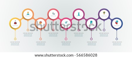 Vector infographics timeline design template with 3D paper label, integrated circles background. Blank space for content, business, infographic, diagram, flowchart, diagram, time line or steps process