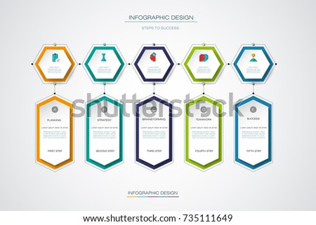 Vector infographics timeline design template with label design, 5 options or steps. Can be used for content, business, process infographics, diagram chart,  flowchart, process diagram, time line