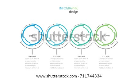 Vector Infographics.Timeline with 4 steps, circles.Vector linear infographic element.Vector eps10 illustration.