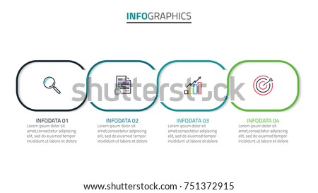 Vector Infographics.Timeline with 4 steps or options and marketing icons can be used for workflow layout, diagram, annual report, web design and presentation.Vector linear infographic element.
