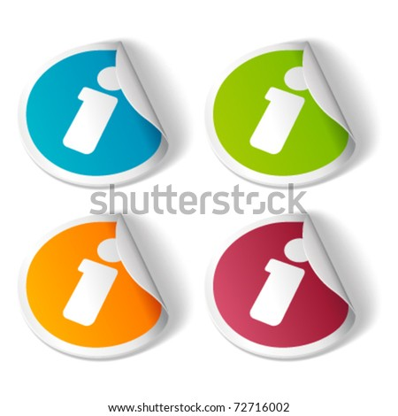 Vector information icon on sticker set. Transparent shadow easy replace background and edit colors.