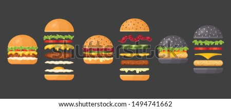 Vector ingredients for classic burger isolated on white. Ingredients: bun, cutlet, cheese, bacon, sauce, buns, tomato, onion, cucumbers, beefs ham. Fast food ingredient for burgers.