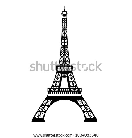 vector ink black eifel tower