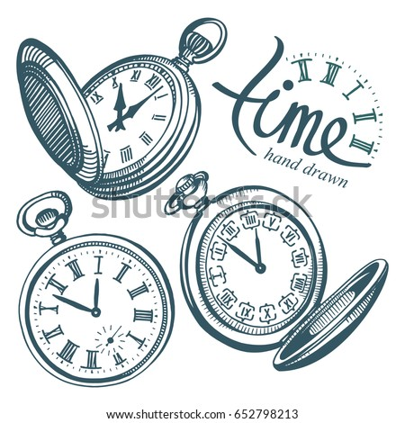 Vector ink hand drawn set of antique pocket watches.  Black and white illustration isolated on white. Foto d'archivio ©