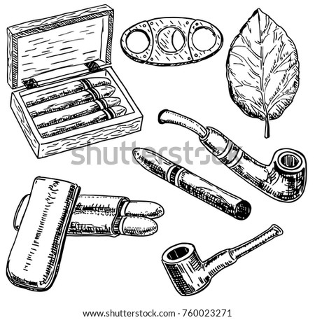 Vector ink hand drawn style tobacco set with tobacco leaf, cigars, smoking pipe, cigarette holder, humidor, etc. Vintage sketch illustration.