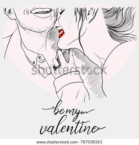 vector ink illustration of love