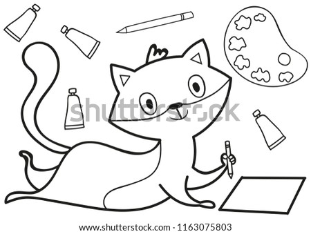 Vector Ink Illustration With Cute Cartoon Fox Can Be Used For Coloring Book Page