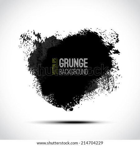 Vector ink splatter isolated on white. Abstract grunge design element. Black and white design. Hand drawn splash. Can be used for banner, flayer, book cover, restaurant menu, poster etc  #214704229