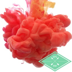 Vector ink swirling in water. Isolated cloud of red and green ink on white. Template design for banner. Paint in water on white background. Splashes of paint. Texture of ink, paint in water