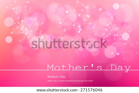 Vector inscription love on a pink background with bokeh and light. Happy mother Day Card Design. Mother\'s Day. Vector Blurred Soft Background. infograph  Image. Vector. Icon.