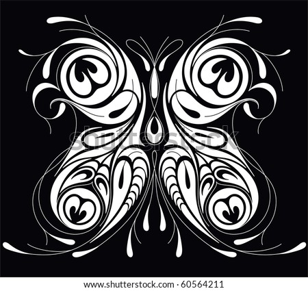 Vector insect peacock butterfly illustration tattoo black for Peacock tattoo black and white