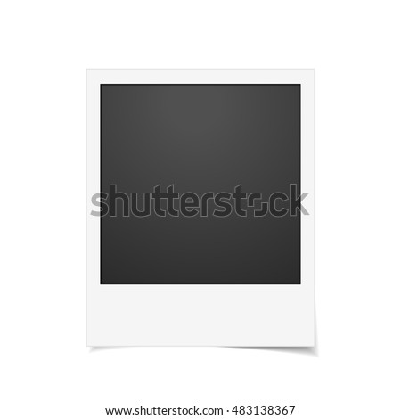Vector Instant photo frame. Realistic paper photograph with shadow isolated on white background. #483138367