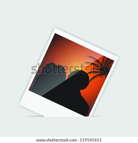 Vector Instant photo with kissing peoples  vector illustration