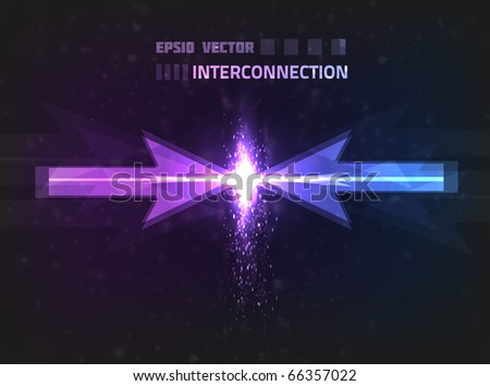 Vector interconnection concept. Two bright arrows are connected, releasing energy at their ends. Background is colored violet and blue.