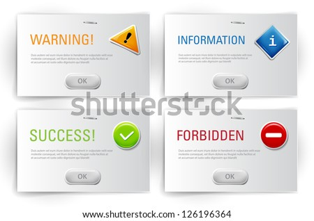 Vector interface dialog boxes with glossy icons