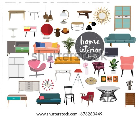 vector interior design elements. furniture mid century modern. living room  element collection set.