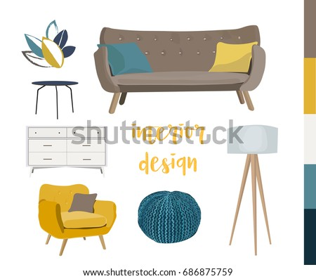 vector interior design elements