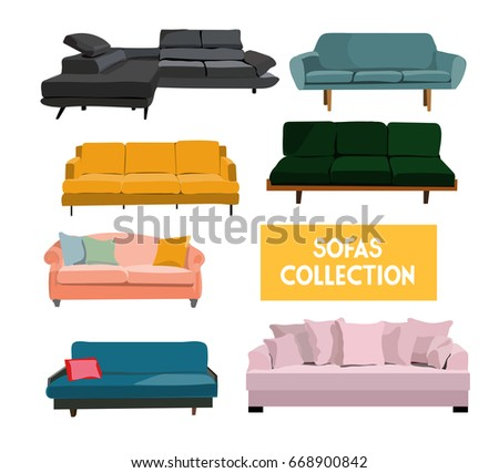 Vector Interior Design Elements Set Sofa Sofas Couch Living Room Furniture Trendy
