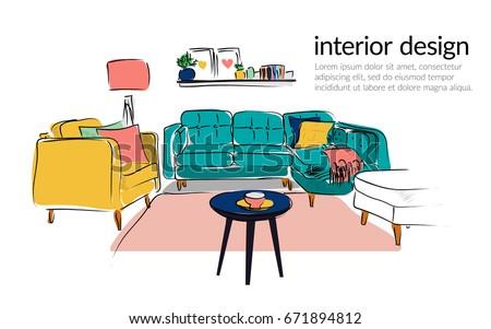 Vector Interior Design Hand Drawn Illustration Living Room Furniture Sketch