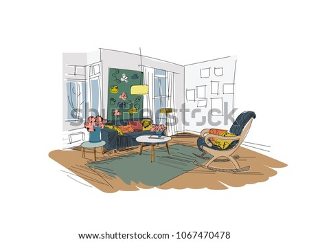 Vector Interior Design Illustrationliving Room Furniture Hand Drawn Watercolor Sketch Mid Century