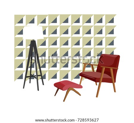 Vector Interior Design Illustration. Mid Century Modern Living Room. Home  House 1960 1950 Furniture