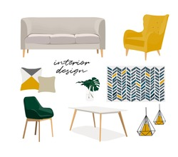 vector interior design mood board furniture illustration. modern style home house decor decoration.