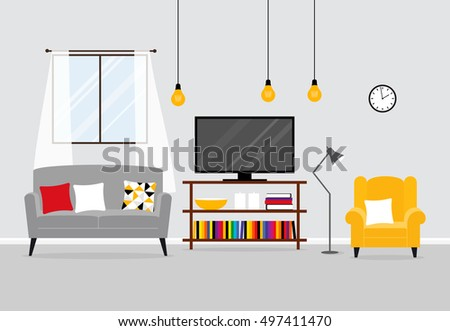 Vector Interior Of A Living Room
