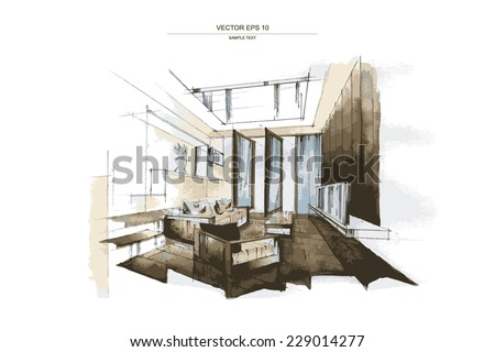 """Vector interior sketch design of """"Living Room"""". Watercolor sketching idea on white paper background."""