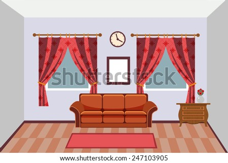 vector interior with curtains