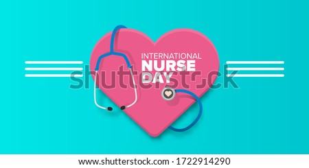 vector international nurse day greeting card or horizonta banner  with stethoscope isolated on azure  background. vector nurses day icon or sign design template Foto stock ©