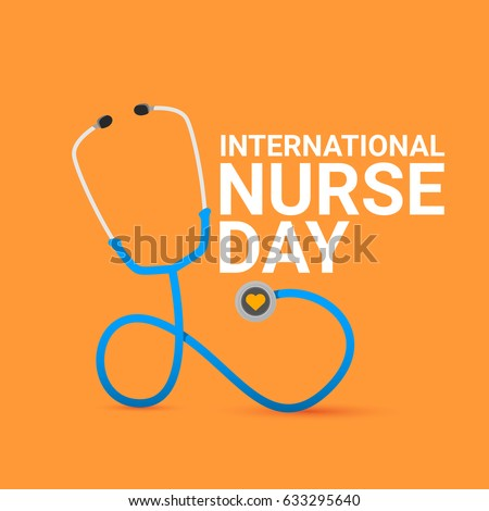 vector international nurse day vector label with stethoscope on orange background. vector nurses icon