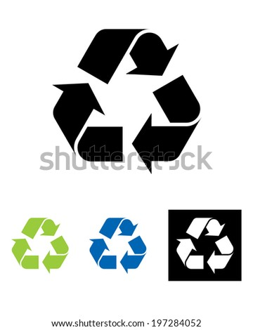 Vector international recycling symbol set in colour, black and reverse