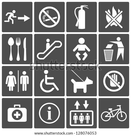 Vector International Service Signs icon set: exit wc cafe, information stop