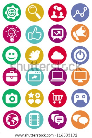 Vector internet and technology icons - set of bright pictograms