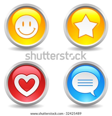 vector internet buttons - smiley, star, favorite, comment