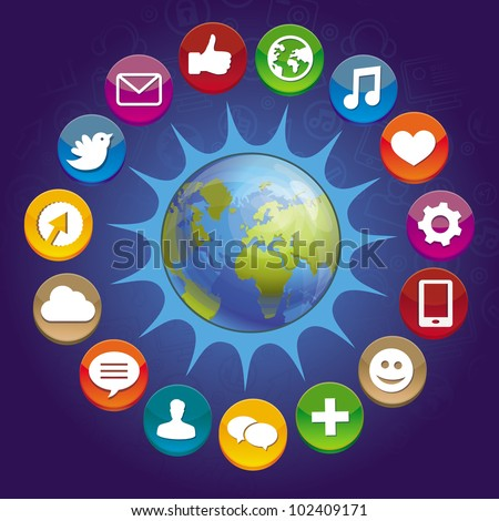 vector internet concept - globe with social media icons