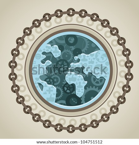 vector internet concept - globe with social media icons in steam punk style