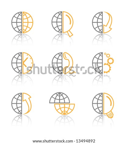 Vector internet icons. Globe set. Simply change.