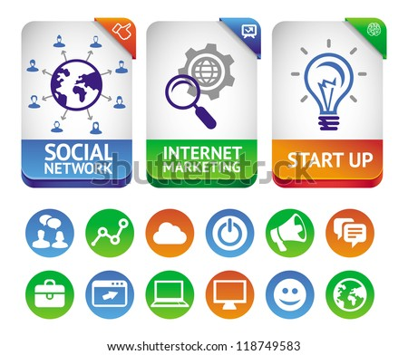 Vector internet marketing labels - abstract design elements and social media icons
